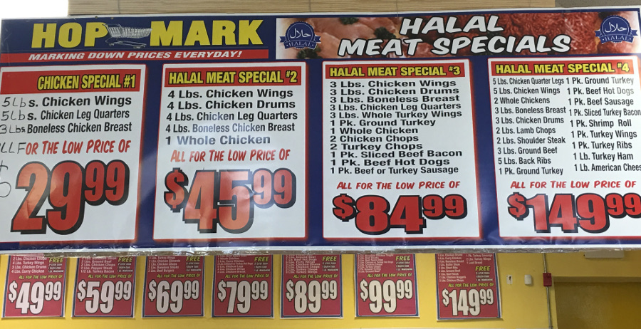 halal meat specials with red tags
